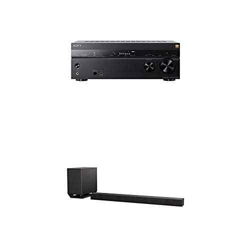 Sony STR-DN1080 7.2 Kanal 4K UHD AV Receiver mit Dolby Atmos und Multi-Room (WI-Fi, AirPlay, Chromecast, Bluetooth, NFC) + HT-ST5000 7.1 Kanal Soundbar mit Dolby Atmos (800W, High-Resolution Audio, Wi-Fi, 4K HDR pass-through, HDMI, USB) Schwarz