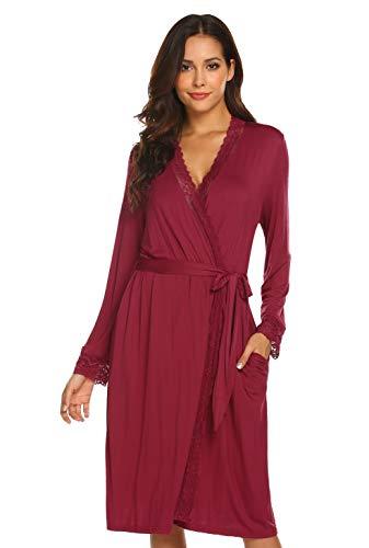 Doneto Damen Morgenmantel Langarm Saunamantel Lang Kimono Sexy dünn Mutterschaft Robe V Ausschnitt Nachtwäsche mit Gürtel Spitze und Taschen für Frauen Rot M
