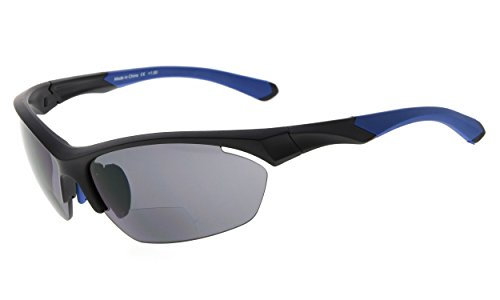 Eyekepper TR90 Sport Bifokale Sonnenbrille Baseball Laufen Angeln Fahren Golf Softball Wandern Halbrandlose Lesebrille (Schwarzer Rahmen blauer Tempel, 3.00)