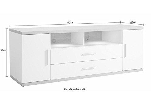 trendteam AA31241 TV Möbel Lowboard weiss Hochglanz, Absetzungen Eiche sägerau hell, BxHxT 150x55x47 cm - 4