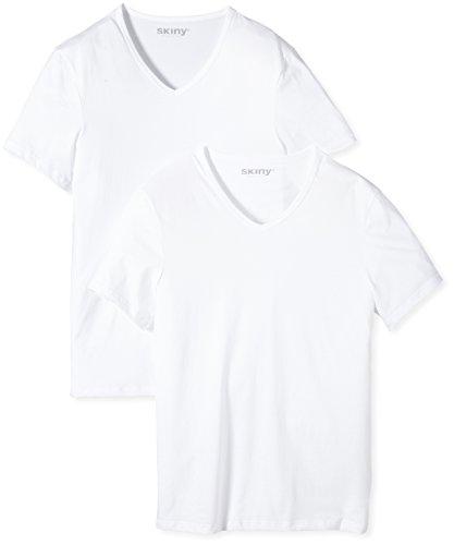 Skiny Herren T-Shirts Shirt Collection V-Shirt Kurzarm 2er Pack Weiß (WHITE 0500)