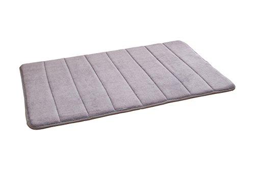 Memory Foam Badematte Badezimme Teppich Modern 16mm Badteppich Rutschfest Duschvorleger Wasserabsorbierend Maschinenwaschbar 40 x 60cm (Grau)