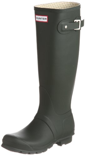 Womens Original Hunter Pink Wellington Boots, Dark Olive, 6 UK