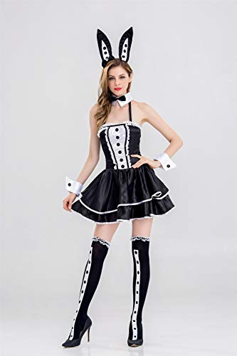 MY Schwarz Bunny Girl Bühnenkostüm Sexy Dünne Kaninchen Rolle Spielen Anzug Nachtclub Kleidung Cospaly Für Frauen (Size : M)