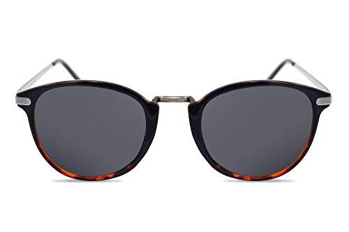 Cheapass Sonnenbrille Rund Schwarz UV-400 Designer-Brille Vintage Metall Damen Herren