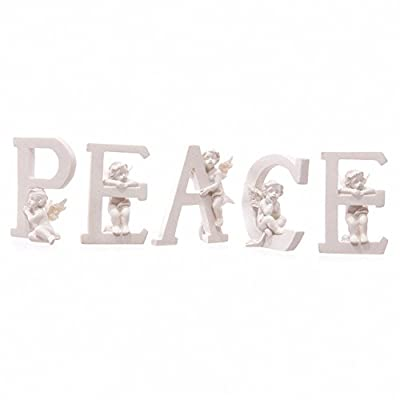 GORGEOUS SET OF 5 ANGEL CHERUB PEACE LETTERS ORNAMENTS FIGURES BRAND NEW & BOXED by Puckator