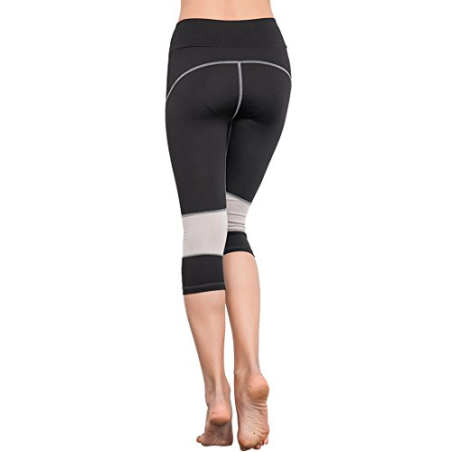 Vertvie Femme Leggings de Sport Pantalons Court Extensible Capri Collant Stretch pour Yoga Fitness Jogging 3/4 Longueur Noir