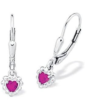 amor Kinder-Ohrhänger Mädchen (Bärenherz Charity Collection) Herzen 925 Sterling Silber rhodiniert Zirkonia pink...