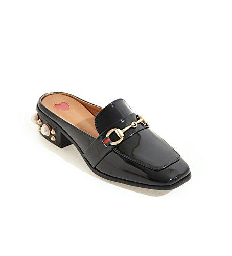 Chaussures à Talons De Perles De Style Britannique Black