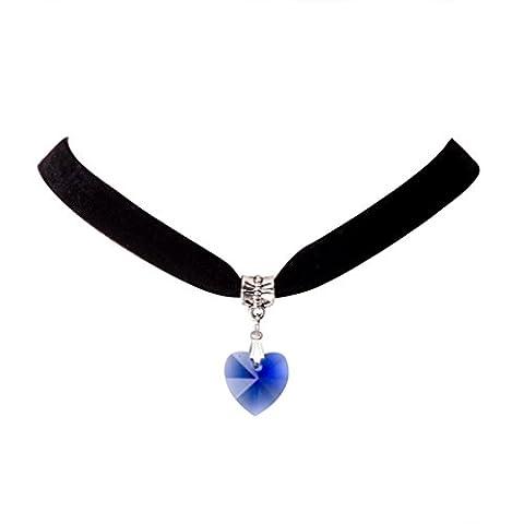 Jane Stone Collier Tatouage Ras du Cou en Velours Noir Pendentif Amour Coeur Bleu Femme Bijoux