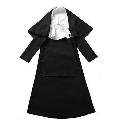 Heiligen Kostüm Mädchen - Trifycore Mädchen Nonne Halloween-Kostüm Heilige Schwester Kostüm mit Kopfstück für Halloween Cosplay Partei-Schwarz XL 1Set