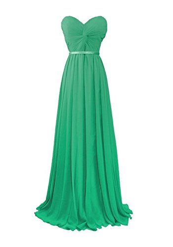 Fanciest Women's Sweetheart Chiffon Bridesmaid Dresses Long Prom Evening Gowns Green