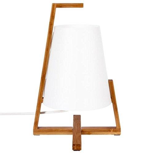 Lámpara de mesa original y de diseño - Pie en bambú y pantalla de aspecto fibra de vidrio.