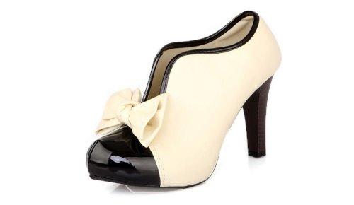 Damen Pumps High Heels Ankle Boots- LATH.PIN Brautschuhe Stilettosabsatz Party mit Schleife Klassisch Vintage Schuhe(40,Beige)