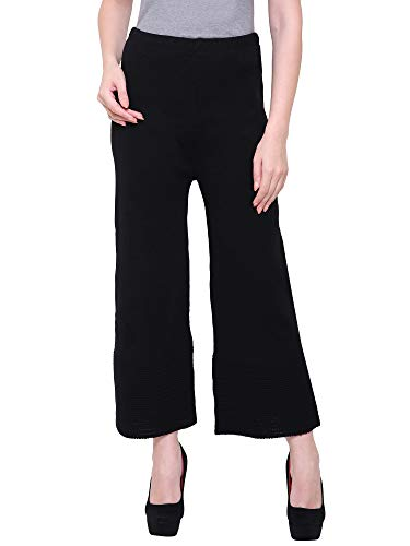 Stylewhile Black Woolen Full Length Free Size Palazzo Pant For Women