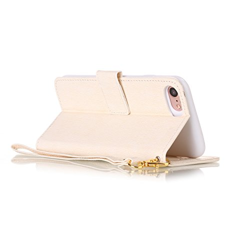 iPhone 7 Plus Custodia inShang cover per iPhone 7 Plus 5.5,Cover Supporto rigido per iPhone7 Plus iPhone 7 Plus Case in pelle PU, Custodia a portafoglio con taschini, Wallet design with card slot white