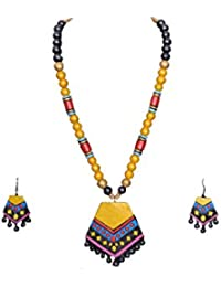 Dream Bravo Yello, Black, Blue, Orange Gold Terracotta Necklace Set For Woman