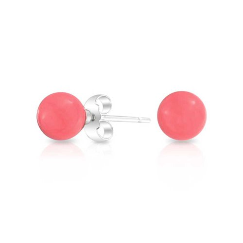 925 Sterling Silver Round Dyed Pink Coral Stud Earrings 6mm