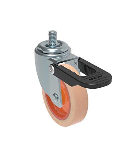 GLEED 312 NTE Schioppa L12 Series 3//8 Diameter x 1 Length Threaded Stem 3 x 1-1//4 Swivel Caster 325 lbs Non-Marking Nylon Precision Ball Bearing Wheel