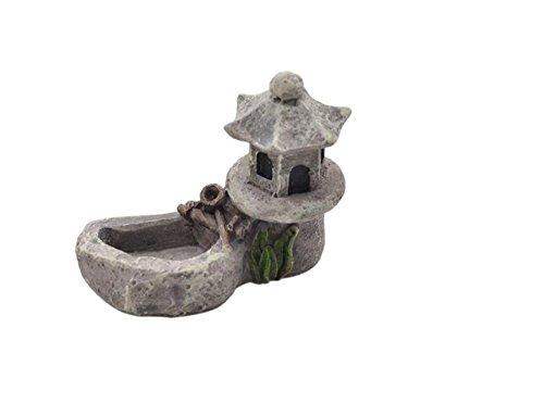 Lianji Moss - Figura decorativa de jardín con diseño de torre de agua y mini zen, color gris