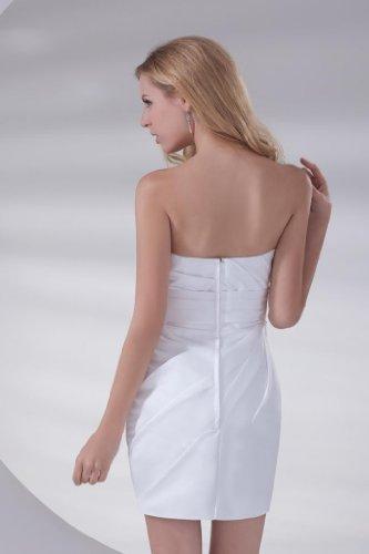 GEORGE BRIDE Wuerdevolle traegerlose mit Rueschen Satin kurzes Kleid Weiß