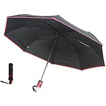 (Paraguas Plegable Automático Compacto Resistente al Viento Apertura y Cierre Automáticos 8 Varillas Reforzadas Anti