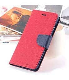 First 4 For Lenovo A369i Flip Cover Mercury Wallet Dairy Case (Red & Blue)