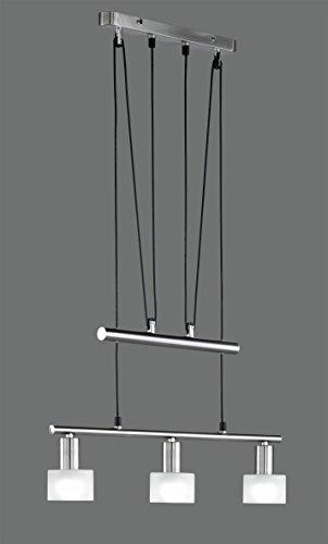 Khl LED Pendelleuchte 3x4W hell höhenverstellbar 82 - 180 cm New York 3000k 60cm nickel matt / Glas weiß 12 Watt