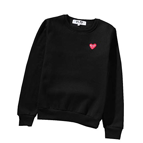 f46e8c414e4bd yur67 CDG Play Heart Print Sweater Round Neck Couple Black Sweater Hoodie  for Men/Women
