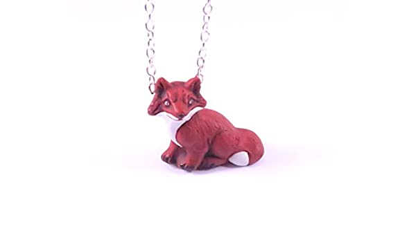 Fuchs Kette Silber Farben 60cm Wald Schmuck Tier Anhänger