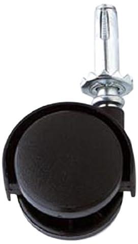 Bulk Hardware BH01565 Twin Nylon Wheel Castors Casters, Socket Grip Neck Stem Fix, 40mm (1.1/2 inch) - Pack of
