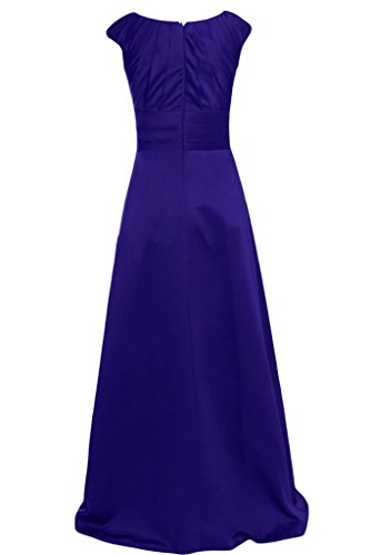Gorgeous Bride Elegant U-Ausschnitt Lang Empire Satin Festkleid Ballkleid Royalblau