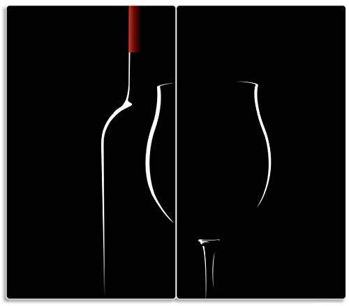Herdabdeckplatte / Spritzschutz aus Glas, 2-teilig, 60x52cm, für Ceran- und Induktionsherde, Rotwein bei Nacht