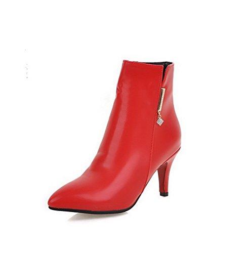AllhqFashion Damen Hoher Absatz Eingelegt Spitz Zehe Reißverschluss Stiefel mit Metallisch, Rot, 39