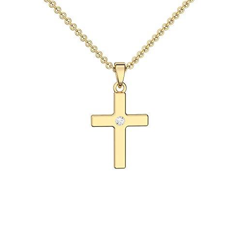 Kreuz Kette Gold (Silber 925 hochwertig vergoldet) mit Zirkonia + inkl. Luxusetui + Kreuzkette mit Stein wie Diamant Kreuzanhänger Anhänger Kommunion Konfirmation Taufkette FF430 VGGGZIFA45