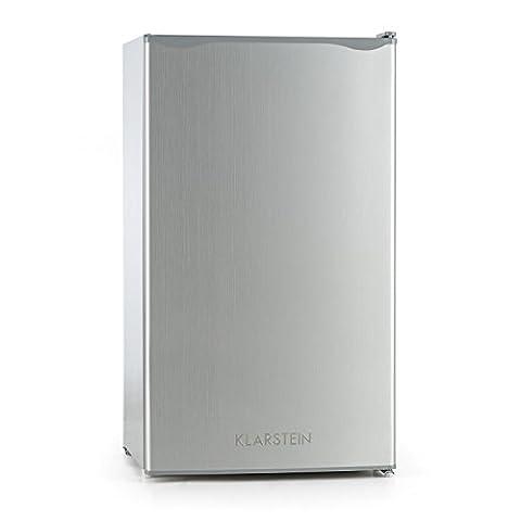 Klarstein Alleinversorger • Kühlschrank • Standkühlschrank • 90 Liter Volumen • 82 cm hoch • 7 Liter Eisfach • 2 Ebenen • 3 Türablagen • Gemüsefach • 5-stufiger Temperaturregler • Edelstahltür • wechselbarer Türanschlag • silber