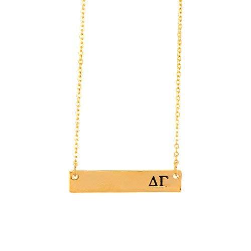 Delta Gamma 24 K vergoldete horizontale Bar Halskette Griechische Sorunity Buchstabe mit Verstellbarer Kette DG