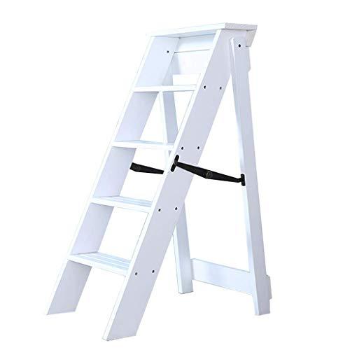 Escaleras Escalerillas Escaleras de Tijera de Madera Escaleras de peldaño Plegables de 5 Pasos, de Color Blanco Ligero Escalera de Tijera de escaleras de Uso múltiple - Capacidad de 300 LB