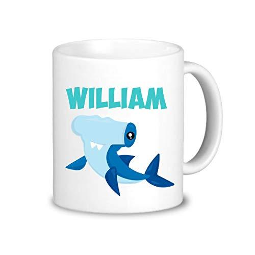 Ocean Blue Cup (Betsy34Sophia Kinder Shark Becher T¨¹rkis Shark Drinkware Cup Blue Ocean Hammerhead Shark personalisierte Becher Sie w?hlen Kunststoff oder Keramik Kinder Name Geschenk)