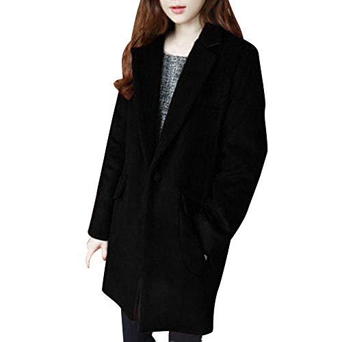 VEMOW Herbst Winter Elegante Damen Cashmere-Like Dicker Jacke Outwear Parka Cardigan Casual Täglichen Business Schlank Mantel(X1-Schwarz, EU-44/CN-2XL)