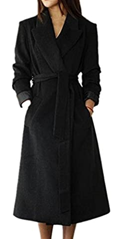 Foluton Damen Wintermantel Herbst Elegant Wollmantel Lang Trenchcoat Cardigan Mode V-Auschnitt Revers Parka Kaschmirmantel Coat Mit Gürtel Oberbekleidung (Schwarz Belted Wollmantel)
