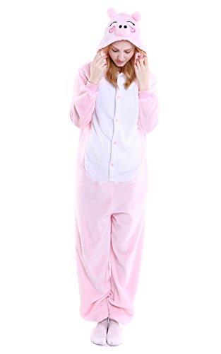 jama Jumpsuit Schwein Kostüm Onesie Schlafanzug Hausanzug Overall Rosa Größe S (Kostüm Schwein)
