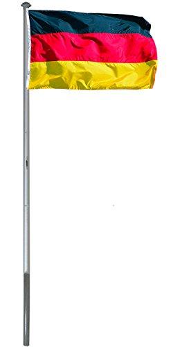 6m Flaggenmast Aluminium Fahnenmast mit Deutschland Flagge 150 x 90 cm + Bodenhülse
