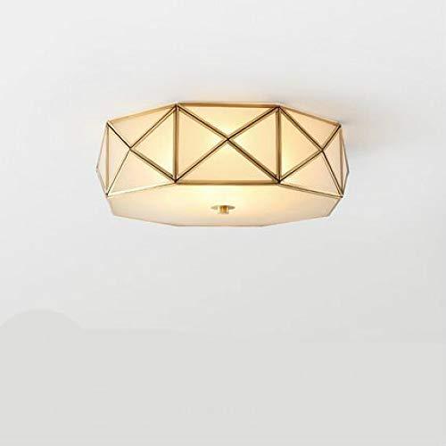 WSYYWD Led Deckenleuchte American Copper Lamp Study Schlafzimmer Deckenleuchte Home Round Modern Copper Deckenleuchte Durchmesser 35cm E27 * 3