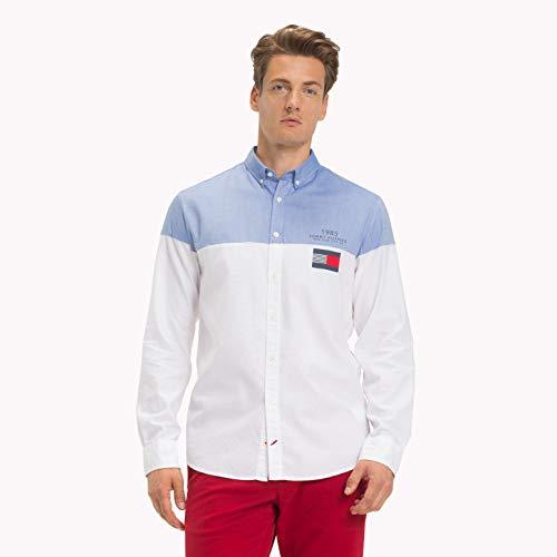 1e7b5a4fc937 Tommy Hilfiger Color Block Shirt, Camisa Hombre, Azul (Shirt Blue/Bright  White