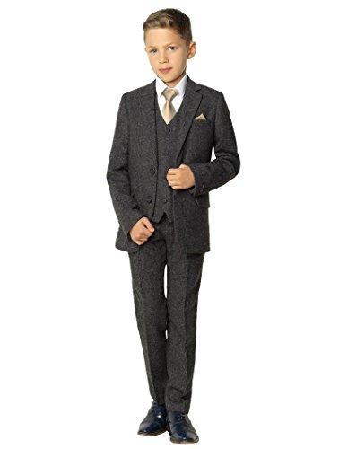 Paisley of London Anzug für Jungen, Tweed-Anzug für Hochzeiten, grau - 9 Jahre (Metallic-hosen-anzug)