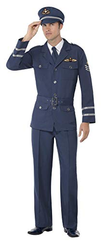 WW2 Air Force Hauptmann Kostüm Blau mit Hose Jacke Mütze und Schlips, Medium (Ww2 Fancy Dress Kostüm)