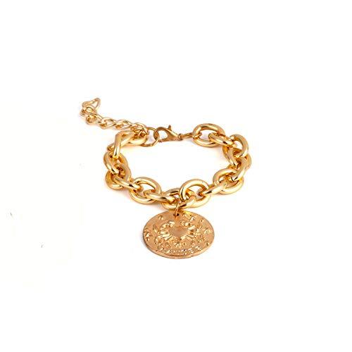 big face cat Ornamenti esagerati scava fuori ornamenti a mano braccialetto punk temperamento perla multistrato femminile, singolo dorato,