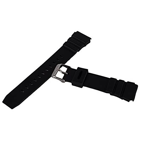 Unisex Silicone Rubber Waterproof Watch Strap Band Wristwatch Buckle Mens Women (18mm, Black)