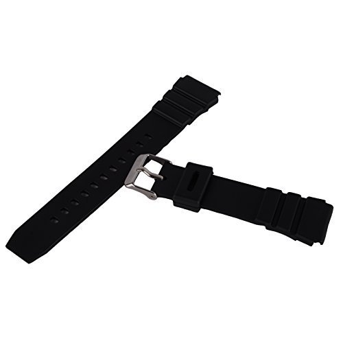 Unisex Silicone Rubber Waterproof Watch Strap Band Wristwatch Buckle Mens Women (18mm, Black)